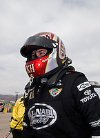 Mar 29, 2014; Las Vegas, NV, USA; NHRA top fuel driver Shawn Langdon during qualifying for the Summitracing.com Nationals at The Strip at Las Vegas Motor Speedway. Mandatory Credit: Mark J. Rebilas-