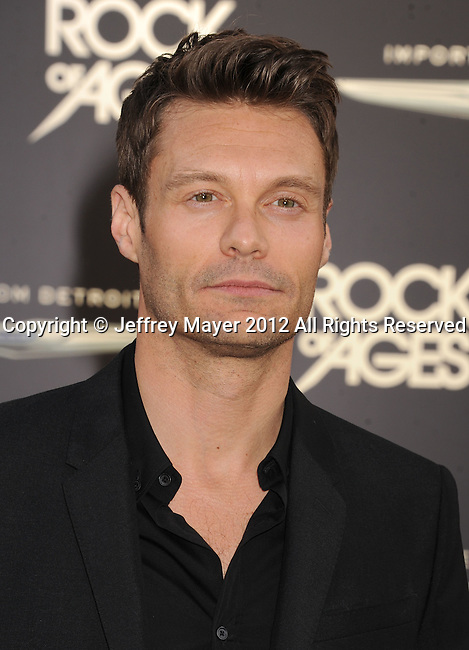 HOLLYWOOD, CA - JUNE 08: Ryan Seacrest arrives at the 'Rock Of Ages' - Los Angeles Premiere at Grauman's Chinese Theatre on June 8, 2012 in Hollywood, California.