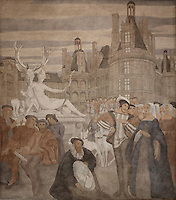 Fresco entitled La Renaissance, 1 of a series of 4 paintings depicting the 4 ages of French art, showing Francis I and his court at the Chateau de Chambord, with Diane d'Anet (Diana the huntress statue), Joachim du Bellay and the Pleiade poets, painted in Art Deco style in 1929-30 by Robert La Montagne Saint-Hubert, 1887-1950, and 2 assistants, Ethel Wallace and James Newell, 1900-1985, 1 of 6 frescoes which were discovered during works in 1994 and restored in 2011, in the Grand Salon or Great Hall of the Fondation des Etats Unis or American Foundation, designed by Pierre Leprince-Ringuet, 1874-1954, and inaugurated in 1930, in the Cite Internationale Universitaire de Paris, in the 14th arrondissement of Paris, France. The Grand Salon is listed as a historic monument. The CIUP or Cite U was founded in 1925 after the First World War by Andre Honnorat and Emile Deutsch de la Meurthe to create a place of cooperation and peace amongst students and researchers from around the world. It consists of 5,800 rooms in 40 residences, accepting another 12,000 student residents each year. Picture by Manuel Cohen. Further clearances may be requested.