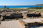 Overview of Baelo Claudia Roman site looking to the sea, Cadiz province, Spain