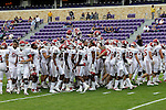Oklahoma Sooners get ready for action before the game between the Oklahoma Sooners and the TCU Horned Frogs  at the Amon G. Carter Stadium in Fort Worth, Texas. OU defeats TCU 24 to 17.