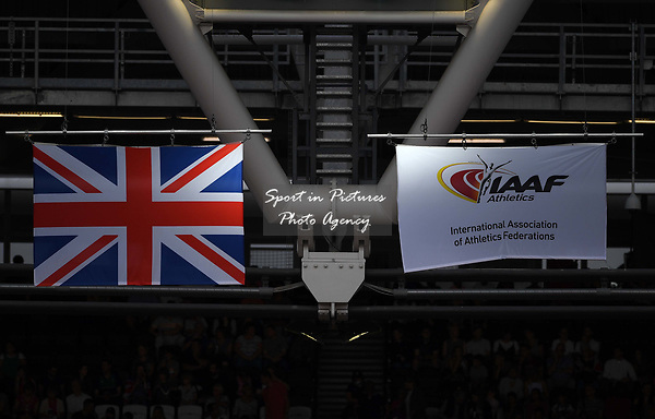 The Union flag and the flag of the IAAF fly together high up in the stadium. IAAF world athletics championships. London Olympic stadium. Queen Elizabeth Olympic park. Stratford. London. UK. 06/08/2017. ~ MANDATORY CREDIT Garry Bowden/SIPPA - NO UNAUTHORISED USE - +44 7837 394578