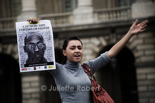 A protester at the gathering in Paris, place de la Concorde on Sept. 21st 2011 against the execution of Troy Davis and the death penalty.
