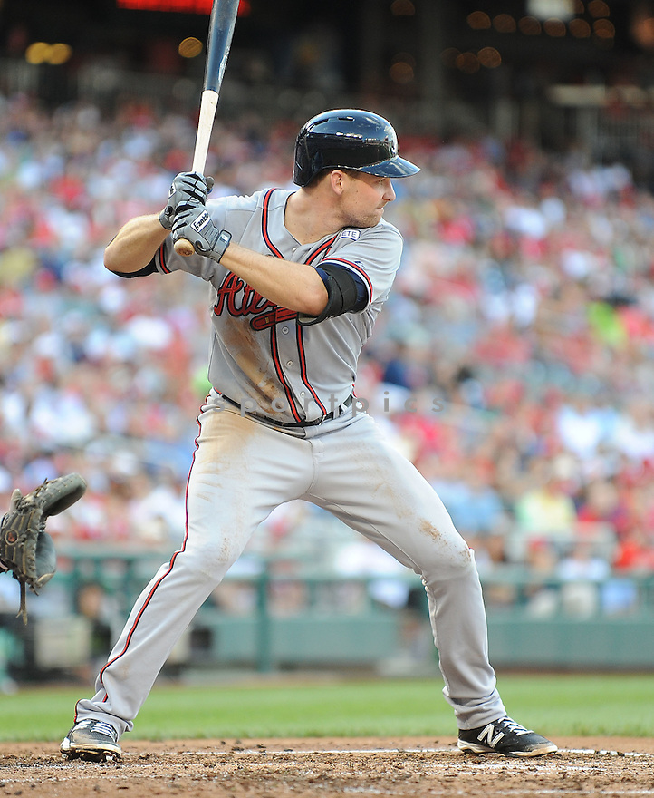Atlanta Braves Phil Gosselin (15) during a game against the Washington Nationals on September 10, 2014 at Nationals Park in Washington DC. The Braves beat the Nationals 6-2.