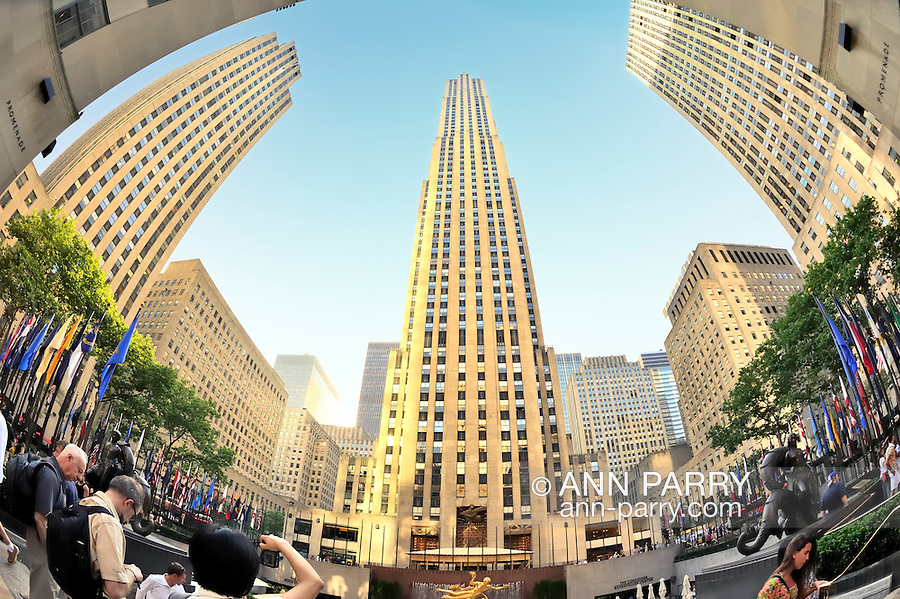 Rockefeller Center Plaza, Fish Eye View, Manhattan, NYC, New York, USA, on June 27, 2011.