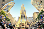 Rockefeller Center Plaza, Fish Eye View, Manhattan, NYC, New York, USA, on June 27, 2011.