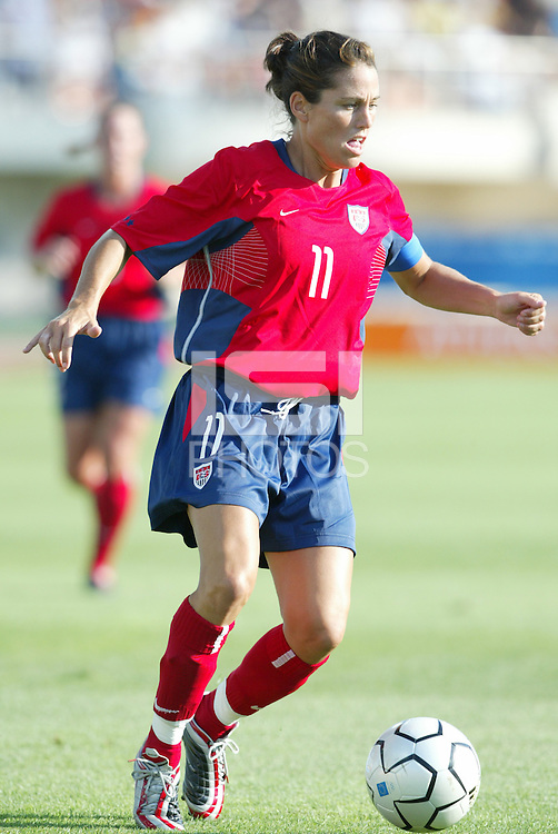 August 11th, 2004: Julie Foudy in action against Greece at Pankritio Stadium in Heraklio, Greece.  USA defeated Greece, 3-0..Credit: Michael Pimentel / ISI
