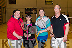 Pictured at Killarney Sports and Leisure Badminton tournament which took place on Sunday last were l-r: Paula O'Sullivan Marie O'Connor Rita McCarthy and Micheál Nolan.