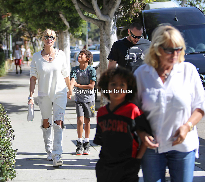 Model Heidi Klum and boyfriend Martin Kristen takes her kids Leni, Henry, Johan and Lou out shopping in Brentwood, California, 02.11.2013.<br /> Credit: Vida/face to face