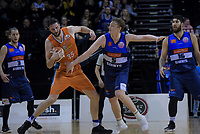 Alex Pledger (Sharks) holds off Finn Delaney (Giants) during the national basketball league semifinal match between Nelson Giants and Southland Sharks at TSB Bank Arena in Wellington, New Zealand on Saturday, 4 August 2018. Photo: Dave Lintott / lintottphoto.co.nz