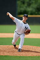 GCL Yankees East relief pitcher Shawn Semple (18) delivers a pitch during the second game of a doubleheader against the GCL Blue Jays on July 24, 2017 at the Yankees Minor League Complex in Tampa, Florida.  GCL Yankees East defeated the GCL Blue Jays 7-3.  (Mike Janes/Four Seam Images)
