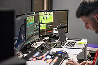 The broadcast suite and studio for the Swansea City AFC live broadcasts at the Liberty Stadium, Wales, UK. Wednesday 30 November 2018
