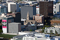 aerial photograph stone church surrounded by office towers, Los Angeles, California