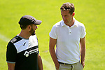 Getafe's coach Jose Bordalas (l) with the Sports Director Ramon Planes during training session. September 12,2017.(ALTERPHOTOS/Acero)