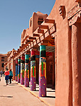 Columns outside of the Museum of Contemporary Native Arts in downtown Santa Fe, New Mexico