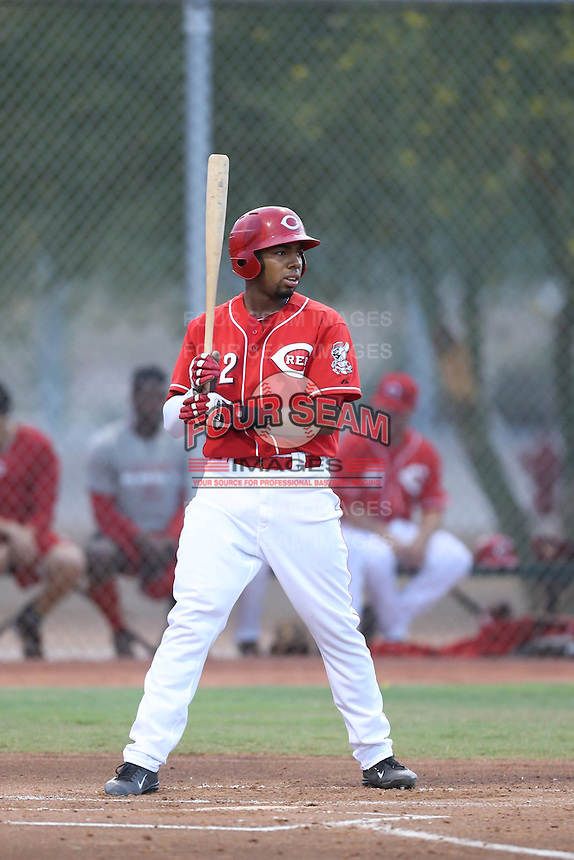 Narcisco Crook #32 of the AZL Reds bats against the AZL Brewers at the Cincinnati Reds Spring Training Complex on July 5, 2014 in Goodyear Arizona. AZL Reds defeated the AZL Brewers, 7-2. (Larry Goren/Four Seam Images)