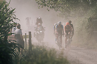 The race leaders (including eventual winner Taco van der Hoorn) emerging from the dust<br /> <br /> 92nd Schaal Sels 2017 <br /> 1 Day Race: Merksem > Merksem (188km)