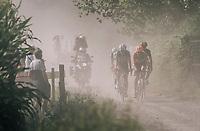 The race leaders (including eventual winner Taco van der Hoorn) emerging from the dust<br /> <br /> 92nd Schaal Sels 2017 <br /> 1 Day Race: Merksem &gt; Merksem (188km)