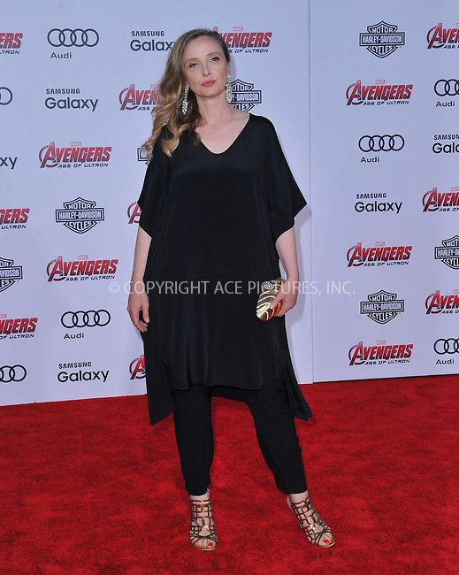 WWW.ACEPIXS.COM<br /> <br /> April 13 2015, LA<br /> <br /> Julie Delpy arrives at the Premiere Of Marvel's 'Avengers: Age Of Ultron' at the Dolby Theatre on April 13, 2015 in Hollywood, California.<br /> <br /> <br /> By Line: Peter West/ACE Pictures<br /> <br /> <br /> ACE Pictures, Inc.<br /> tel: 646 769 0430<br /> Email: info@acepixs.com<br /> www.acepixs.com