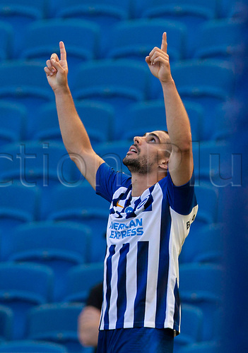 20th June 2020, American Express Stadium, Brighton, Sussex, England; Premier League football, Brighton versus Arsenal ;  Brighton and Hove Albions Neal Maupay celebrates after scoring the winning goal in the 95th minute of the game for 2-1