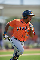 Houston Astros Juan Ramirez (43) runs to first base during a Minor League Spring Training Intrasquad game on March 28, 2019 at the FITTEAM Ballpark of the Palm Beaches in West Palm Beach, Florida.  (Mike Janes/Four Seam Images)
