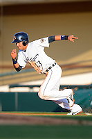 Lakeland Flying Tigers shortstop Eduardo Suarez #13 during a game against the Brevard County Manatees on April 10, 2013 at Joker Marchant Stadium in Lakeland, Florida.  Brevard County defeated Lakeland 7-6.  (Mike Janes/Four Seam Images)