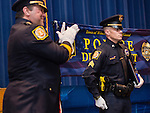 "WINSTED, CT- 18 May 2016-051816EC10-  Jason Hermenau stands during a presentation for ""Officer of the Year."" The Winchester Police Department presented its first awards ceremony Wednesday night at The Gilbert School. Erin Covey Republican-American"