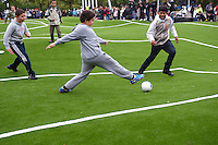 "Inauguration of the ""Puckelball field"" - The World's first - with a soccer game between young people from nearby Holma and Kroksback.<br />
