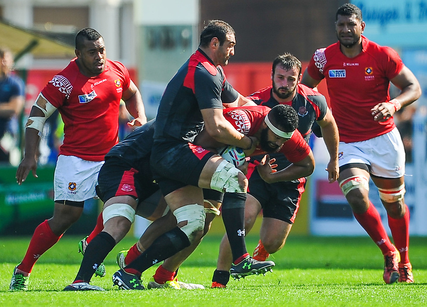 Tonga's Vunga Lilo is tackled by Georgia's Mamuka Gorgodze (c)<br /> <br /> Photographer Craig Thomas/CameraSport<br /> <br /> Rugby Union - 2015 Rugby World Cup - 12;00  Georgia v Tonga - Saturday 19th September 2015 - Kingsholm - Gloucester <br /> <br /> &copy; CameraSport - 43 Linden Ave. Countesthorpe. Leicester. England. LE8 5PG - Tel: +44 (0) 116 277 4147 - admin@camerasport.com - www.camerasport.com
