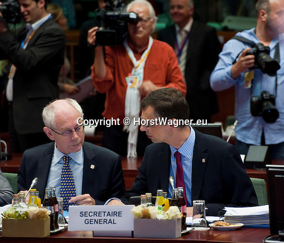 Brussels-Belgium - June 29, 2012 -- European Council, EU-summit meeting of Heads of State / Government; here, Uwe CORSEPIUS (ri), Secretary-General of the EU-Council; Herman Van ROMPUY (le), President of the European Council -- Photo: © HorstWagner.eu