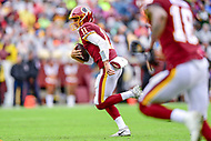 Landover, MD - September 23, 2018: Washington Redskins quarterback Alex Smith (11) scrambles and rolls out of the pocket during game between the Green Bay Packers and the Washington Redskins at FedEx Field in Landover, MD. The Redskins get the win 31-17 over the visiting Packers. (Photo by Phillip Peters/Media Images International)
