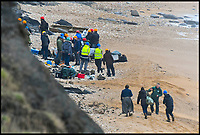 BNPS.co.uk (01202 558833)<br /> Pic: Graham Hunt/BNPS<br /> <br /> Kate Winslet filming at the fossil laden cliffs at Charmouth this afternoon.<br /> <br /> Film crew and actors on the Beach at Charmouth in Dorset today for the filming of the new film Ammonite about the life of fossil hunter Mary Anning starring Kate Winslet and Saoirse Ronan.<br /> <br /> Kate Winslet taking a ride in an off road buggy to her next filming location.