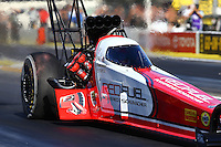 Feb 12, 2016; Pomona, CA, USA; NHRA top fuel driver Shawn Langdon during qualifying for the Winternationals at Auto Club Raceway at Pomona. Mandatory Credit: Mark J. Rebilas-USA TODAY Sports