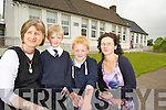 Angela Prendergast, Fybough National School, pictured with Eileen Lovett, deputy principal and pupils Gearóid Evans and Morgan Sayers after they received the news that they were to remain a three teacher school................................................
