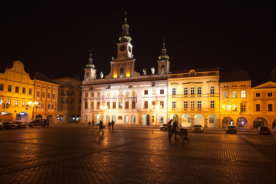 Market place and City Hall by Martinelli, 1727-30, on corner of Premysl Otakar II Square, Budweis, Bohemia, Czech Republic