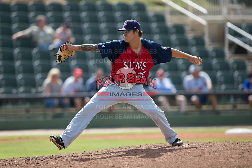 Hagerstown Suns relief pitcher Hayden Howard (25) in action against the Kannapolis Intimidators at Kannapolis Intimidators Stadium on July 9, 2017 in Kannapolis, North Carolina.  The Intimidators defeated the Suns 3-2 in game one of a double-header.  (Brian Westerholt/Four Seam Images)