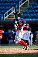 Lowell Spinners center fielder Dylan Hardy (17) follows through on a swing during a game against the Staten Island Yankees on August 22, 2018 at Richmond County Bank Ballpark in Staten Island, New York.  Staten Island defeated Lowell 10-4.  (Mike Janes/Four Seam Images)