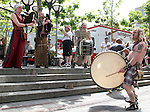 10 June 2006: Soccer fans and locals enjoy market day in Frankfurt before the game. Local musicians perform in the square. England played Paraguay at Commerzbank Arena in Frankfurt, Germany in match 3, a Group B first round game, of the 2006 FIFA World Cup.
