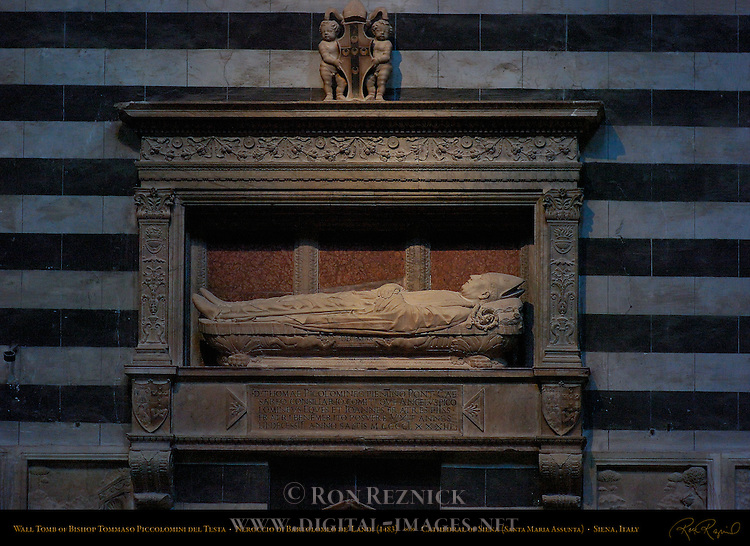 Wall Tomb of Bishop Tommaso Piccolomini del Testa, Neroccio di Bartolomeo de' Landi 1483, Right Aisle, Cathedral of Siena, Santa Maria Assunta, Siena, Italy