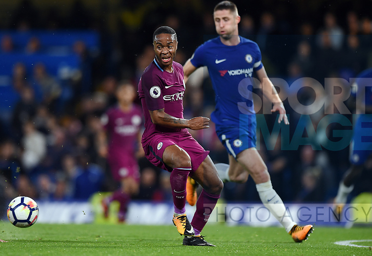 Raheem Sterling of Manchester City during the premier league match at the Stamford Bridge stadium, London. Picture date 30th September 2017. Picture credit should read: Robin Parker/Sportimage