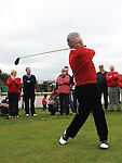 Captain Declan O'Brien tees off at the captain's drive in at County Louth golf Club. Photo: Colin Bell/pressphotos.ie