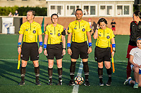 Boston, MA - Friday May 19, 2017: Referees Shane Kennard, Kali Langevin, Head Referee Farhad Dadkho and Alexandria White during a regular season National Women's Soccer League (NWSL) match between the Boston Breakers and the Portland Thorns FC at Jordan Field.