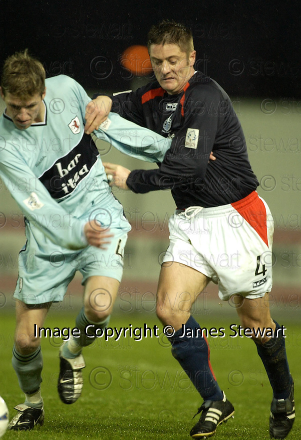 01/01/2005  Copyright Pic : James Stewart.File Name : jspa11_falkirk_v_raith-rovers.IAIN DAVIDSON AND SCOTT MCKENZIE CHALLENGE FOR THE BALL....Payments to :.James Stewart Photo Agency 19 Carronlea Drive, Falkirk. FK2 8DN      Vat Reg No. 607 6932 25.Office     : +44 (0)1324 570906     .Mobile   : +44 (0)7721 416997.Fax         : +44 (0)1324 570906.E-mail  :  jim@jspa.co.uk.If you require further information then contact Jim Stewart on any of the numbers above.........