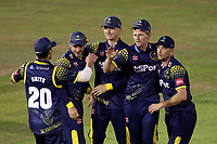 Timm van der Gugten celebrates with his team mates after taking the wicket of Varun Chopra during Glamorgan vs Essex Eagles, Vitality Blast T20 Cricket at the Sophia Gardens Cardiff on 7th August 2018