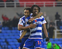 Ovie Ejaria of Reading (14) celebrates scoring the second goal with Liam Moore of Readingduring Reading vs Luton Town, Sky Bet EFL C right celebrates scoring the second goalhampionship Football at the Madejski Stadium on 9th November 2019