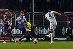 12.10.2018, Stadion an der Bremen Bruecke, Osnabrueck, GER, FSP, 1.FBL, VfL Osnabrueck vs Werder Bremen<br /> <br /> DFL REGULATIONS PROHIBIT ANY USE OF PHOTOGRAPHS AS IMAGE SEQUENCES AND/OR QUASI-VIDEO.<br /> <br /> im Bild / picture shows<br /> Felix Schiller (VfL Osnabrueck #25), Claudio Pizarro (Werder Bremen #04) mit Torschuss, <br /> <br /> Foto © nordphoto / Ewert