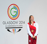 England's Francesca Halsall on the podium after winning women's 50m freestyle final<br /> <br /> Photographer Chris Vaughan/CameraSport<br /> <br /> 20th Commonwealth Games - Day 3 - Saturday 26th July 2014 - Swimming - Tollcross International Swimming Centre - Glasgow - UK<br /> <br /> © CameraSport - 43 Linden Ave. Countesthorpe. Leicester. England. LE8 5PG - Tel: +44 (0) 116 277 4147 - admin@camerasport.com - www.camerasport.com