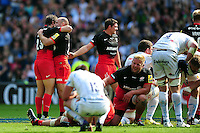 Marcelo Bosch and Charlie Hodgson of Saracens celebrate at the final whistle. Aviva Premiership Final, between Saracens and Exeter Chiefs on May 28, 2016 at Twickenham Stadium in London, England. Photo by: Patrick Khachfe / JMP