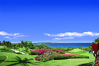 Golf Course, Palm trees, water, Ocean, bunker, green, flag, flagstick, golf hole, activity, rolling, fairways, Greens, Sand Trap, Hazard,