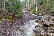 Cascade on Tecumseh Brook in Waterville Valley, New Hampshire during the spring months.